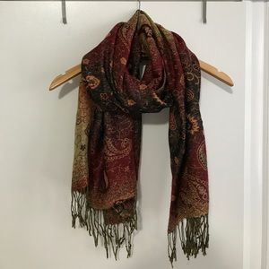 Dark pink, purple, and gold patterned scarf