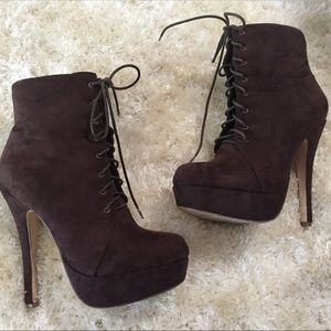 Forever 21 Chocolate Faux Suede Stiletto Bootie