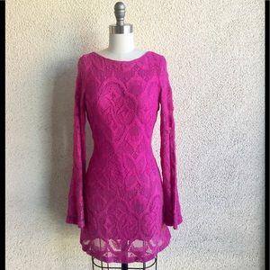 NWT Night Cap Fuchsia Boho Lace Dress