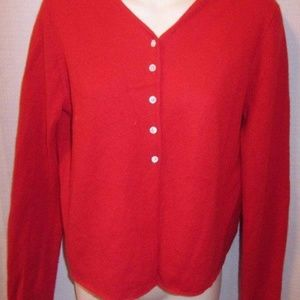 DKNY 100% Cashmere Red Cardigan M