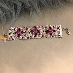 Pink black bracelet made with Swarovski crystals