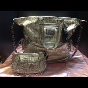Rare Coach Silver Story Patch Poppy Bag