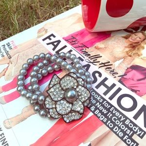 Glam pearl and rhinestone bracelet
