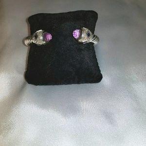 Sterling Silver Twisted Hinged Amethyst Bracelet