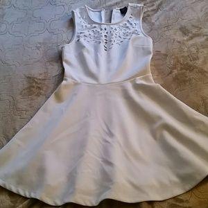 2b bebe white mini skater dress