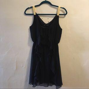 Draping Ruffle Navy Dress