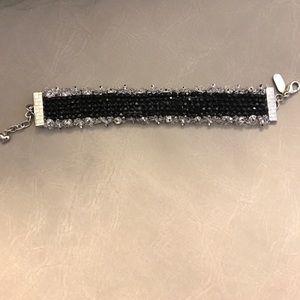 Black silver bracelet made with Swarovski crystals