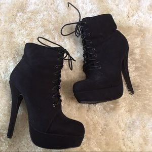 Forever 21 lace up faux suede stiletto booties