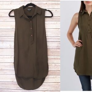 Topshop olive green sleeveless tunic top
