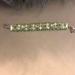 Thin green bracelet made with Swarovski crystals