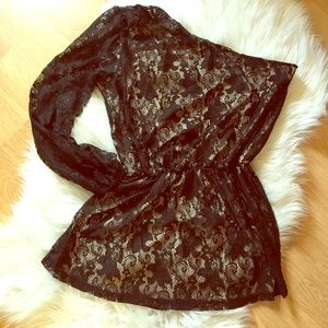 Bisou Bisou Black Lace One Sleeve Romper M Sexy