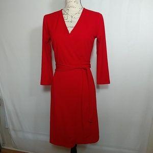Ann Taylor red wrap dress size 0