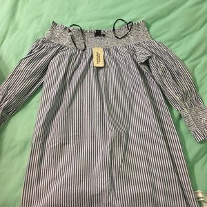 Striped smocked off-the shoulder dress