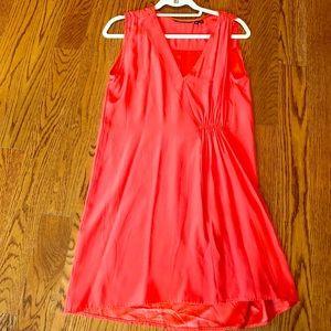 Silk orange dress with unique ruching in front
