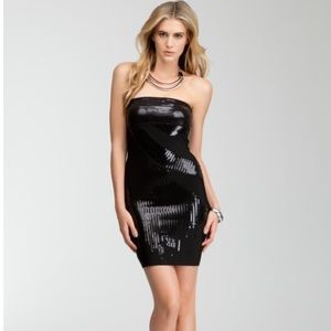BeBe Black Sequin Tube Mini Dress