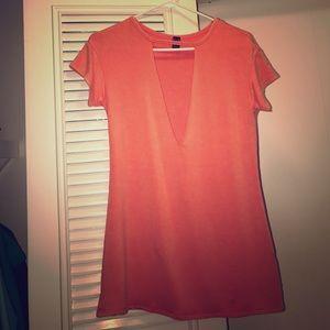deep v choker t-shirt dress