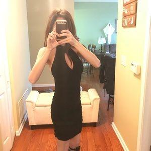 Mini black keyhole dress