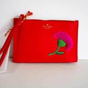 Kate Spade On Purpose Small Leather Wristlet Red
