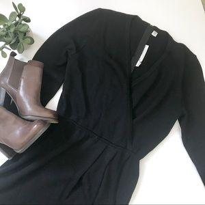 St. John Vintage Knit Wrap Black Dress