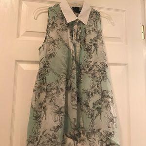 Mint green floral sleeveless top