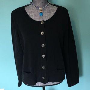 J. Jill Black Cardigan Sweater Large Stretch