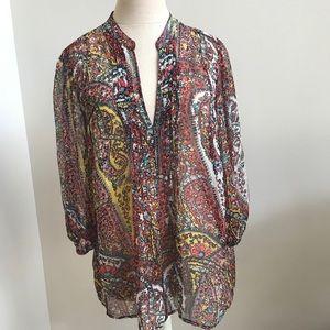 Joie sheer vibrant print blouse size medium
