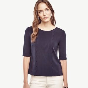 Ann Taylor Navy Scalloped Top Small