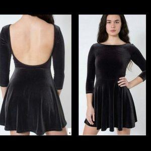 American Apparel Black Velvet Skater Dress