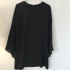 Zara Black Dress with flare lace sleeve XS