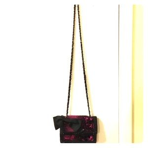 Betsey Johnson pink and black sequin purse