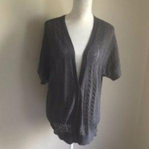 LOFT Grey Short Sleeve Textured Cardigan.  Size XL