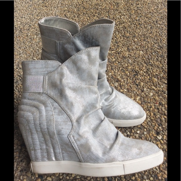 dbf67308f8fb Jennifer Lopez Shoes - Jennifer Lopez Silver Wedge Ankle Boots