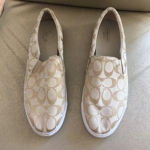 Coach Tan Canvas Logo Slip on Shoe