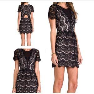 Dolce Vita Saurus Eyelash Dress. Black/Nude Medium