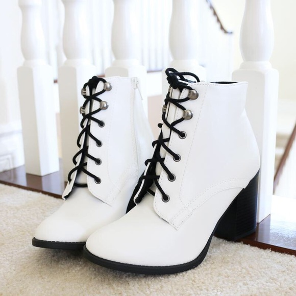 16ee0923d5 Soda Shoes | Lurk White Lace Up Booties Ankle Boots | Poshmark