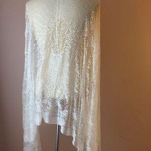 Gorgeous Vtg White Silk Net Long Shawl Wrap Scarf