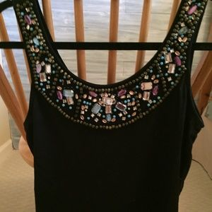 Very Sexy Black Tank Top with Jewel Embellishment