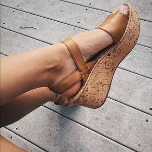 Leather platform cork wedges