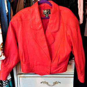 Red Leather Jacket Sz Medium
