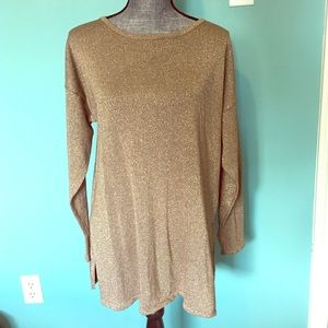 Vintage Express Tunic Sweater Gold & Tan Medium