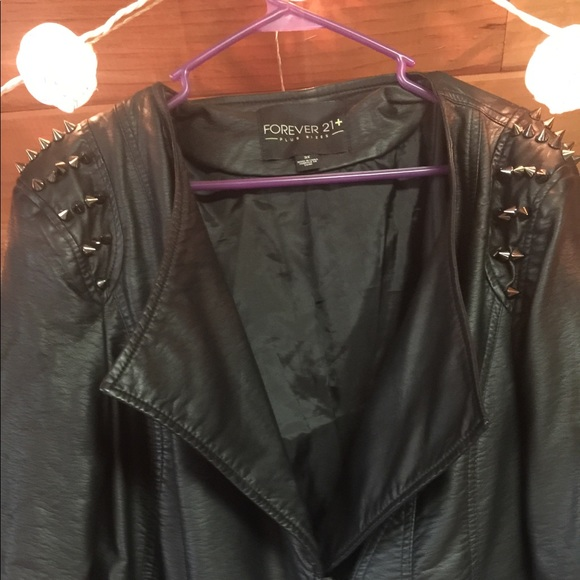 85aa1ce5e8 Forever 21 Jackets & Blazers - Forever 21 + plus faux leather studded moto