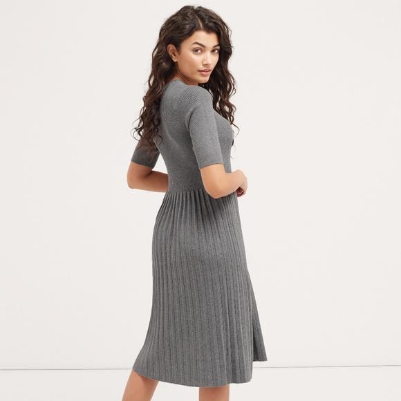 cc2e3c51472 Oasis Modest Pleated Midi Knit Sweater Dress M