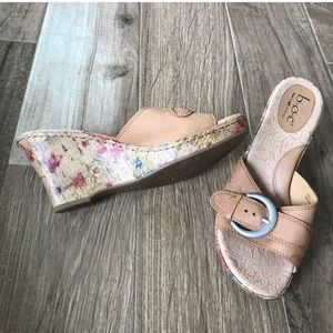 Born Tan Wedge Sandals with Floral Accents