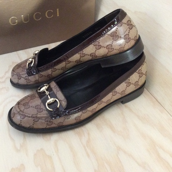 f893064f607 Gucci Shoes - GUCCI GG CRYSTAL COATED CANVAS HORSEBIT LOAFERS