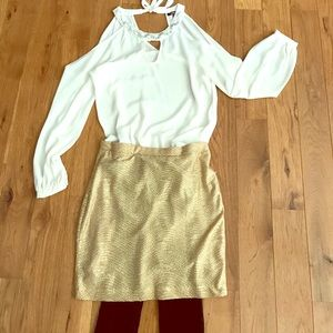 H&M gold skirt ✨ holiday/New Years eve outfit