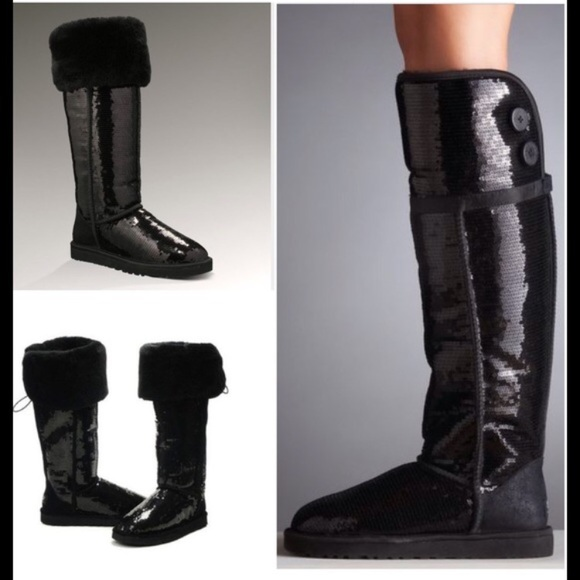 4d2e650fea5 Ugg Bailey Button Bling Sequin OTK Boots 7 Black
