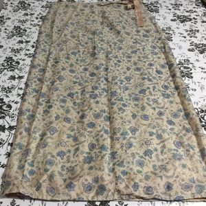Double sided Floral silk wrap long skirt