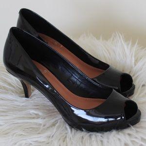 Vince Camuto Black Patent Leather Peep Toe Heels