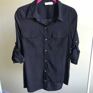 Calvin Klein Semi-Sheer Black Botton Down Blouse