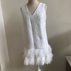 BCBG MAXAZRIA Jamysen Feather white dress Size 0